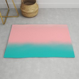 Modern abstract emerald green pink coral ombre Rug