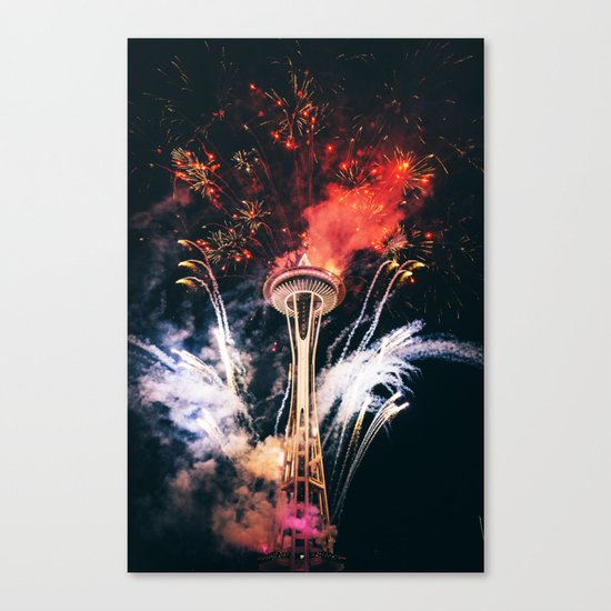 Seattle Space Needle Celebration Canvas Print