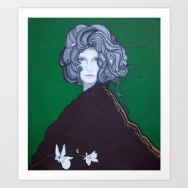 La dama verde está contenta Art Print