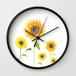 Sunflowers Watercolor Painting Wall Clock