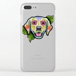 Golden Retriever - Day of the Dead Sugar Skull Dog Clear iPhone Case