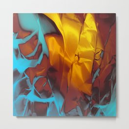 Cruising to Calisto. Orange and Teal Abstract. Metal Print
