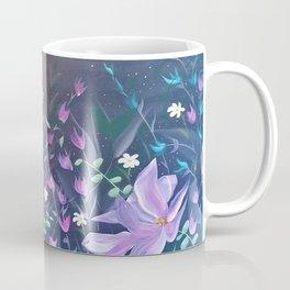 Moonlight Sonata, Bright flowers on Black, Night flowers, Bright floral on dark background Coffee Mug