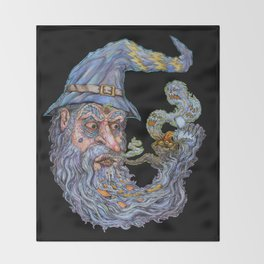 Wizard: Smokin' Bowls And Takin' Souls Throw Blanket