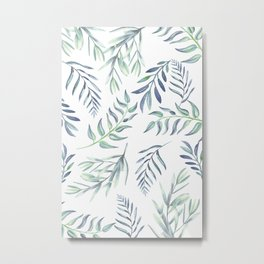 Floating Leaves Blue #society6 #buyart Metal Print