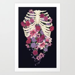 Caged Flowers Art Print