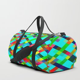 geometric pixel square pattern abstract background in green yellow blue orange Duffle Bag