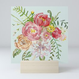 Bouquet of Spring Flowers Light Aqua Mini Art Print