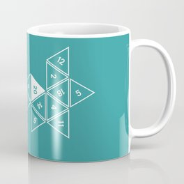 Teal Unrolled D20 Coffee Mug