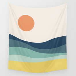 Abstract landscape with sea and sun Wall Tapestry