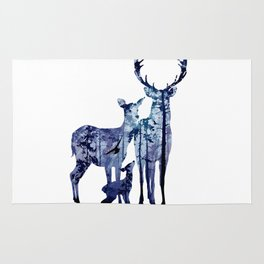Deer Family with Pine Forest Art Rug