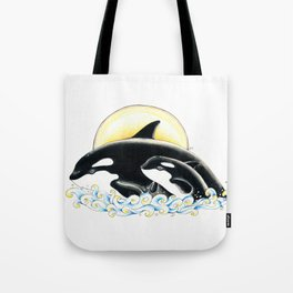 Orca Whales Family Sun Cute Ink Tote Bag