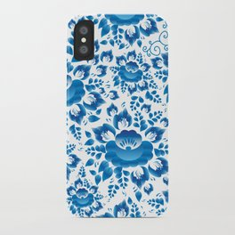 Vintage shabby Chic spring romantic pattern with sky blue flowers iPhone Case