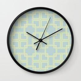 Simple geometric pattern green pastel colors Wall Clock