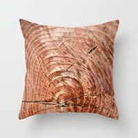 tree rings Throw Pillows featuring Tree Rings by rebecca haegele