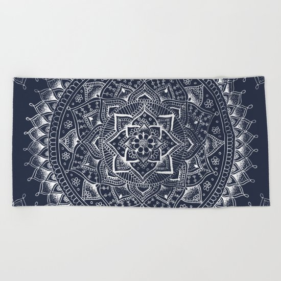 White Flower Mandala on Dark Blue Beach Towel