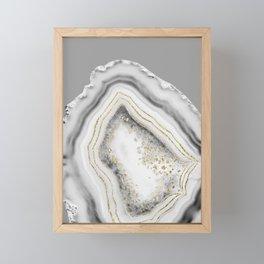 White Agate Gold Foil Glam #3 #gem #decor #art #society6 Framed Mini Art Print