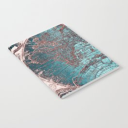 Antique World Map Pink Quartz Teal Blue by Nature Magick Notebook