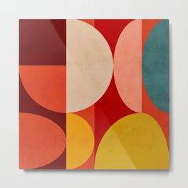 shapes of red mid century art Metal Print