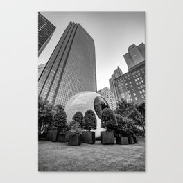 Downtown Dallas Giant Eye and Skyscrapers - Black and White Canvas Print