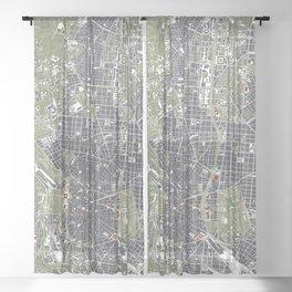 Madrid city map engraving Sheer Curtain
