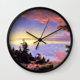 New England - Above the Clouds at Sunrise by Frederic Irwin Church Wall Clock