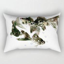Fish Black Moor Black aquarium fish design fish home decor feng shui Rectangular Pillow