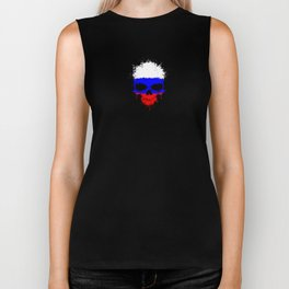 Flag of Russia on a Chaotic Splatter Skull Biker Tank