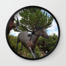 HORSES AT LARGE Wall Clock
