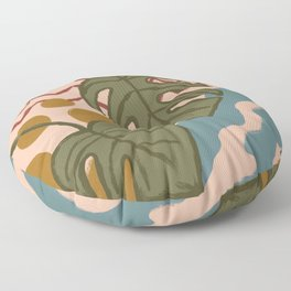 Monstera Split Leaf in Fall Colors Floor Pillow