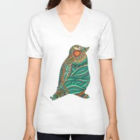 ethnic V-neck T-shirts featuring Ethnic Penguin by Pom Graphic Design