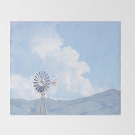 """Blue Windmill Blue Sky"" by Murray Bolesta Throw Blanket"