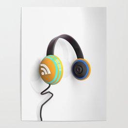 3D wifi headphones Poster
