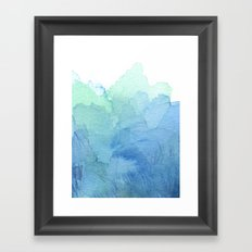 Abstract Watercolor Texture Blue Green Sea Sky Colors Framed Art Print
