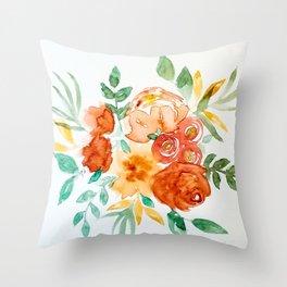 Golden Florals Throw Pillow