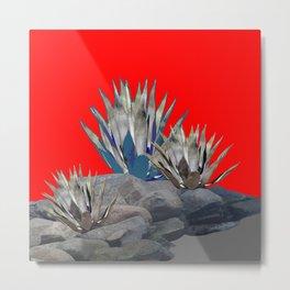 DECORATIVE  RED GREY DESERT AGAVE CACTUS Metal Print
