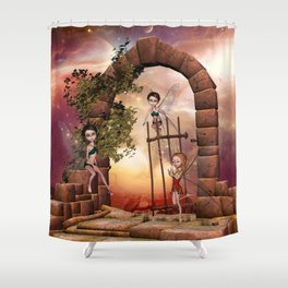 Cute playing fairys in the sunset Shower Curtain