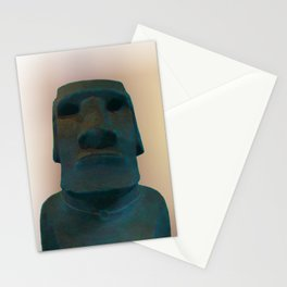Easter Island Blue Man Statue Stationery Cards