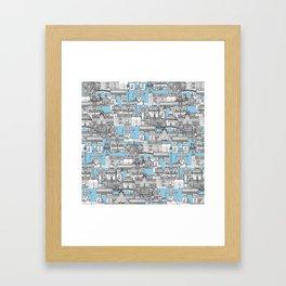 Paris toile cornflower blue Framed Art Print