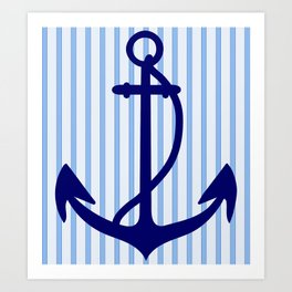 Anchor with stripes. Art Print