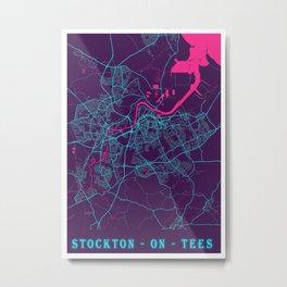 Stockton - On - Tees Neon City Map, Stockton - On - Tees Minimalist City Map Art Print Metal Print