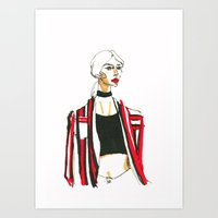 Chiara in Red and Black Art Print