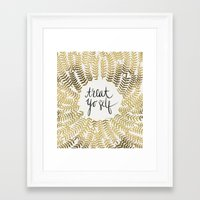 treat yo self Framed Art Prints featuring Treat Yo Self – Gold by Cat Coquillette