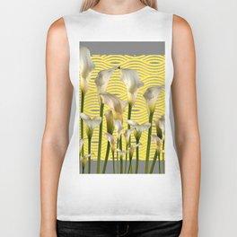 Grey & Yellow Pattern Calla Lilies Art Biker Tank