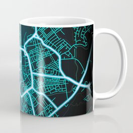 Stoke on Trent, England, Blue, White, Neon, Glow, City, Map Coffee Mug
