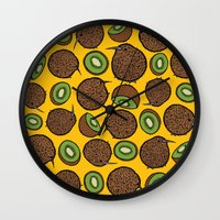 kiwi Wall Clocks featuring Kiwi by Nemki