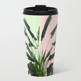 Banana Plant on Pink and Green Wall Travel Mug
