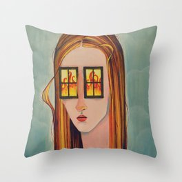 Fire in her eyes Throw Pillow