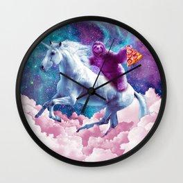 Space Sloth On Unicorn - Sloth Pizza Wall Clock