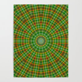 Mandala Green Red Yellow and White Poster
